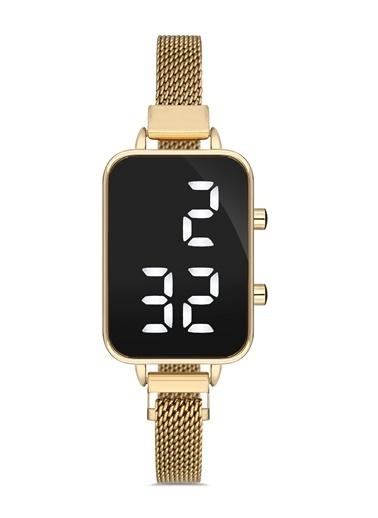 Madamra Hasır Kordon Dijital Kol Saati Altın